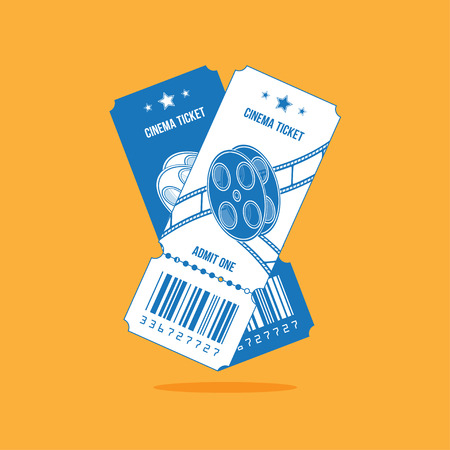 Two cinema ticket with blue lines isolated on orange background. Flat vector illustration.