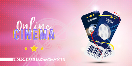 Two cinema ticket realistic on pink and light background with shadow. Flat vector illustration EPS 10.