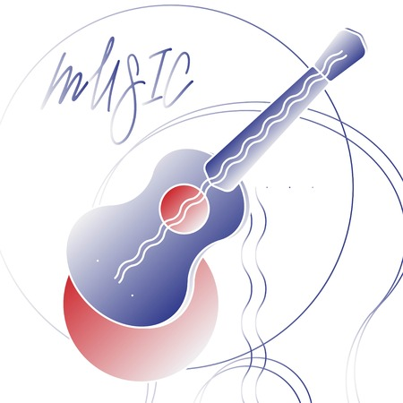 Vector guitar musical instrument Isolated on white background. A creative picture for musicians.