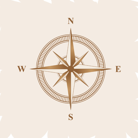 Old retro compass for navigating brown. Flat vector illustration Illustration