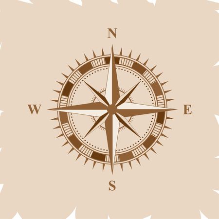 Old retro compass for navigating brown. Flat vector illustration Stock Illustratie