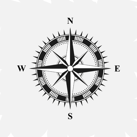 Old retro compass for navigating black. Flat vector illustration