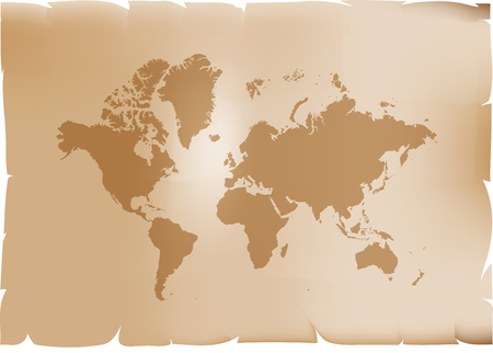 Retro world map vector illustration isolated on brown background Ilustrace