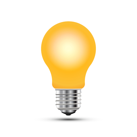 Concept on the topic of ideas. A realistic light bulb isolated on white background with shadow.