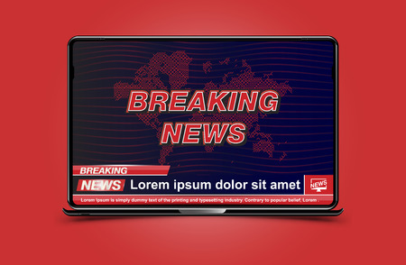 Banner Breaking news template in realistic laptop on color background. Concept for screen TV channel. Flat vector illustration.