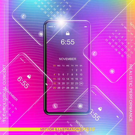 Template realistic smartphone with a gradient and screen lock on a colour background. Phone with set of web icons and calendar with gradient background. Flat vector illustration EPS 10.
