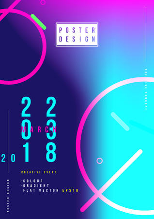 Abstract creative design poster for creative event with colorful gradient. Template futuristic cover. Flat vector illustration.