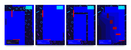 Set of abstract creative posters with blue polygons and geometric lines on dark blue background.