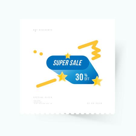 Super sale Banner template design Illustration