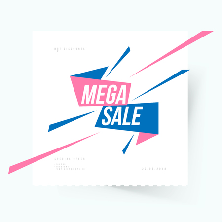 Mega Sale Banner template for design advertising and poster on light background with shadow. Flat vector illustration EPS 10. Illustration
