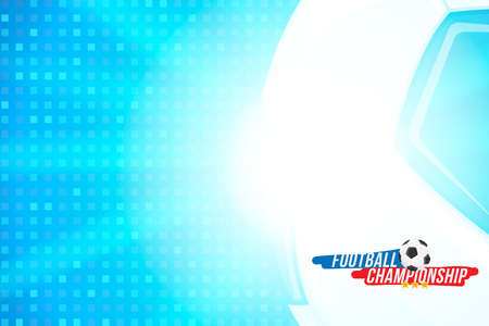 Football championship. Banner template horizontal format with a football ball and text on a background with a bright light effect.