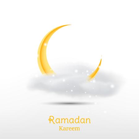 ramadan kareem greeting card template with crescent moon and