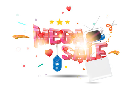 Mega sale of 25%, the concept for big discounts with voluminous text, a retro TV and red hearts on a light background with light effects, flat vector illustration. Illustration