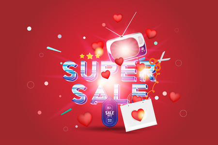 Super sale of 25% off. The concept for big discounts with voluminous text, a retro TV and red hearts on a red background with light effects. Flat vector illustration EPS10. Illustration