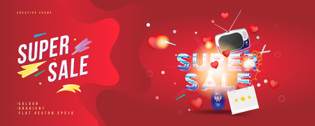 Super sale of 25% off. The concept for big discounts with voluminous text, a retro TV and red hearts on a red background with light effects. Flat vector illustration Иллюстрация