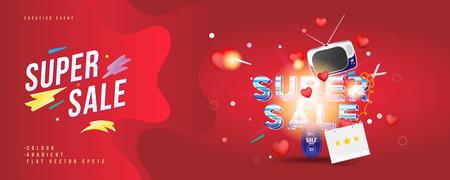 Super Sale von 25% Rabatt. Das Konzept für große Rabatte mit umfangreichem Text, einem Retro-TV und roten Herzen auf rotem Hintergrund mit Lichteffekten. Flache Vektorillustration