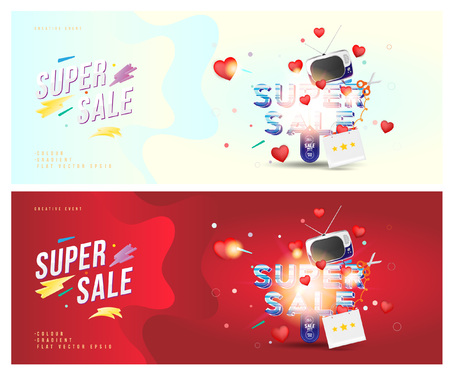 Super sale of 25% off. The concept for big discounts with voluminous text, a retro TV and red hearts on a light and red background with light effects. Flat vector illustration Illustration