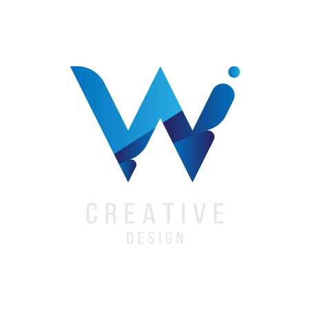 Original Letter W in blue colour for logotype. Vector sign logo design template. Flat illustration.