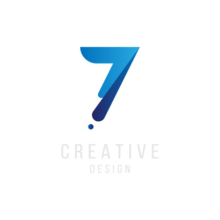 Original number 7 in blue colour for logotype. Vector sign logo design template. Flat illustration. Illustration