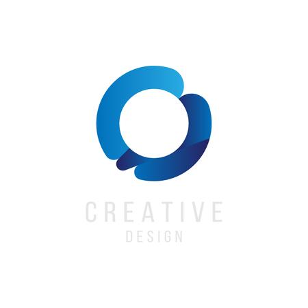 Original Letter O in blue colour for logotype. Vector sign logo design template. Flat illustration.