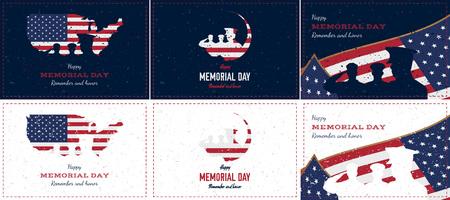 Feliz día de los caídos. Establecer tarjeta de felicitación retro vintage con bandera y soldado con textura de estilo antiguo. Evento de fiesta nacional estadounidense. Ilustración de Vector plano EPS10.