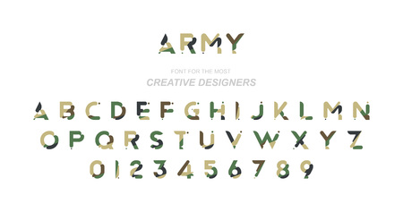 Original font in camouflage for creative design template.