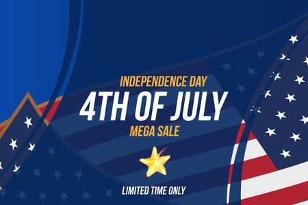 Horizontal Format Flyer Celebrate Happy 4th of July - Independence Day. Mega sale and hot discounts with USA flag. National American holiday event.