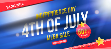 Flyer Celebrate Happy 4th of July - Independence Day. Mega sale with sticker 50% off. National American holiday event.