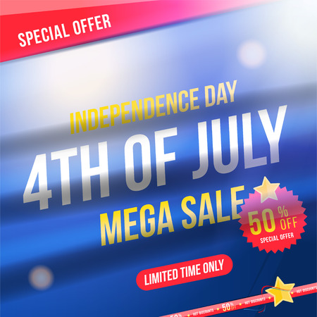 Flyer Celebrate Happy 4th of July - Independence Day. Mega sale with sticker 50 off. National American holiday event.