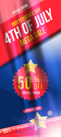 Large vertical poster Celebrate Happy 4th of July - Independence Day. Mega sale with sticker 50 off. National American holiday event.