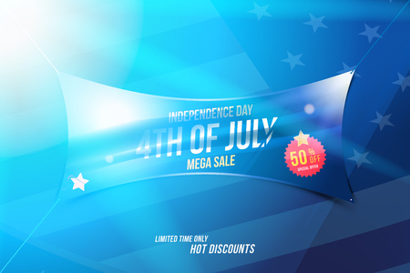 Flyer Celebrate Happy 4th of July - Independence Day. Mega sale with sticker 50% off and USA flag. National American holiday event. Illustration