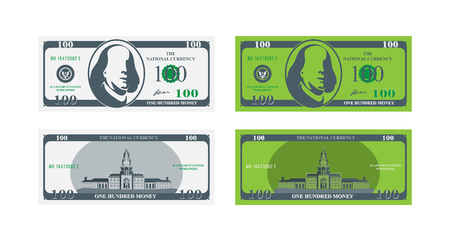 One hundred dollar banknote front and back.