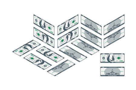 One hundred dollar banknote in isometric front and back. Money in different angles.