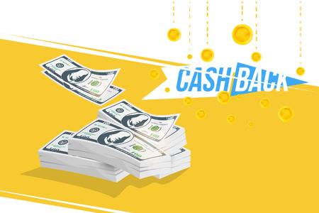 Cash Back banner with bundle of money and icon coins. The concept of financial and profitable offers.