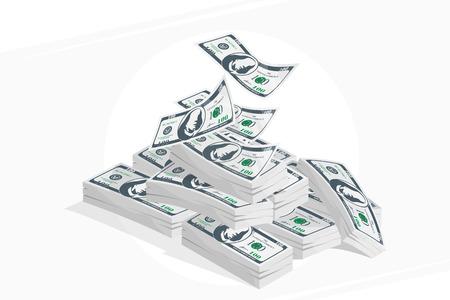 Bundle d'argent en isométrique. Beaucoup de billets sur fond clair.