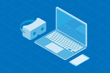 Set of gadgets for virtual and augmented reality. Isometric computer with smartphone and VR glasses on a blue background. Vector illustration EPS 10.