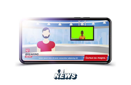 Anchorman in Breaking News. Banner Breaking News template in realistic smartphone on white background. Concept for screen TV channel. Flat vector illustration EPS10.