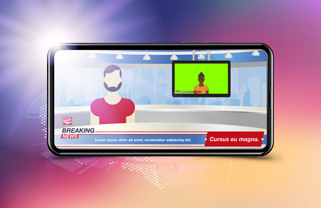 Anchorman in Breaking News. Banner Breaking News template in realistic smartphone on colour background. Concept for screen TV channel. Flat vector illustration EPS10. Ilustração