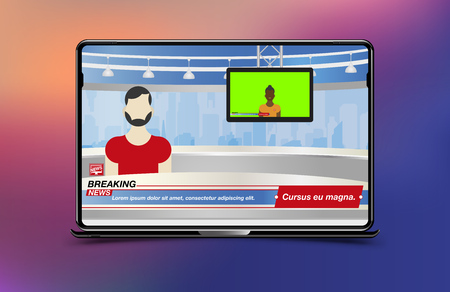 Anchorman in Breaking News. Banner Breaking News template in realistic laptop on colour background. Concept for screen TV channel. Flat vector illustration EPS10.