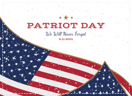 Patriot Day september 11. 2001 We will never forget. Typography with the flag of the USA on a white background. Vector font combination to the day of memory of the American people. Flat element EPS 10.