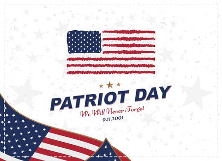 Patriot Day 11 september 2001 We zullen het nooit vergeten. Typografie met de vlag van de VS op een witte achtergrond. lettertypecombinatie tot de dag van de herinnering aan het Amerikaanse volk.