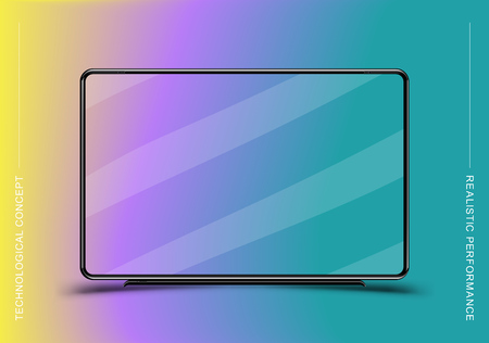 Template realistic black TV monitor on colour background. Flat vector illustration EPS 10.