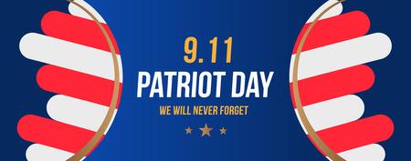 Día del Patriota 11 de septiembre de 2001 Nunca lo olvidaremos. Plantilla de cartel con tipografía y bandera de Estados Unidos. Banner para el día de la memoria del pueblo estadounidense. Elemento plano EPS 10. Ilustración de vector