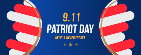 Patriot Day september 11. 2001 We will never forget. Poster template with typography and USA Flag. Banner for the day of memory of the American people. Flat element EPS 10.