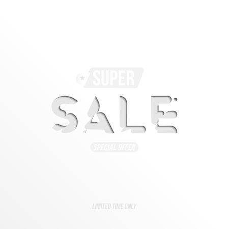 Banner Super Sale with special offer. Template for design advertising and poster on white background. Flat vector illustration EPS 10.