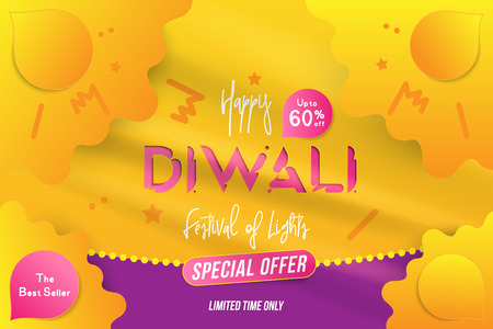 Banner Diwali Festival of lights with special offer Sale 60% off. Creative template with decoration elements and shadow on the yellow background.