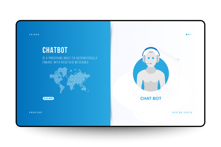 Landing Page design template for web site with Icon Chatbot and technology world map on the background. Outline drawing laptop in isometric style.