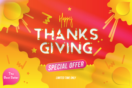 Happy Thanksgiving typography poster with special offer. Celebration card for autumn event. Creative template with decoration elements and shadow on the background. Flat vector illustration EPS10.