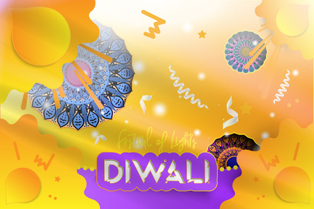 Diwali Hindu festival of lights. Creative template greeting card with with decoration elements. Mandala with shadow against the backdrop of a burst and light rays. Flat vector illustration