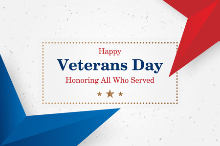 Veterans Day. Greeting card with font inscription on a starry background. National American holiday event. Illustration